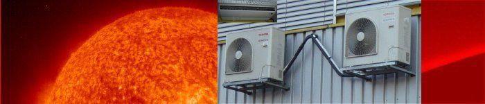 Zwei starke Klimaanlagen kühlen das Datacenter